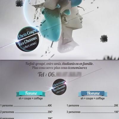 2013, logo et flyer Chris Coiffure