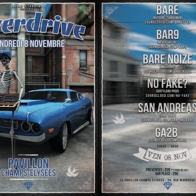 2013, flyer recto verso Overdrive (Paris)