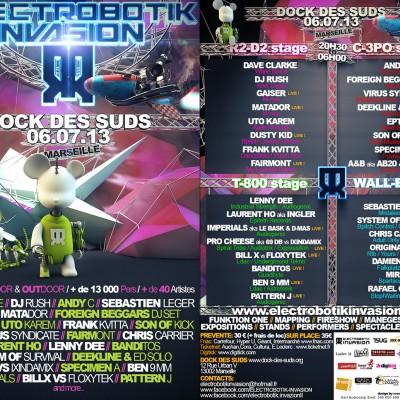 2013, flyer recto verso ElectroBotik Invasion Festival